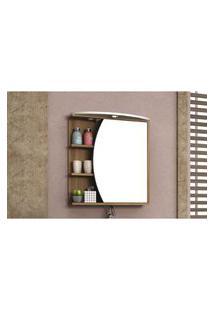 Armário Para Banheiro Com Espelho 60Cm Em Mdf Nogal/Branco