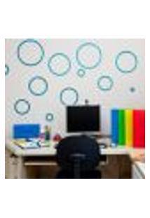 Adesivos De Parede Circulo 3D Glitter Azul - Dellodecor