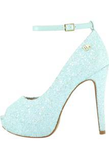 Peep Toe Meia Pata Week Shoes Glitter Tiffany Corte Lateral Verde Água