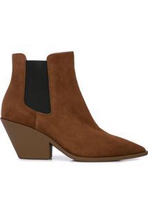Casadei Ankle Boot Com Salto - Marrom