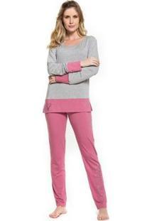 Pijama Inverno Inspirate Pink Feminino - Feminino-Mescla