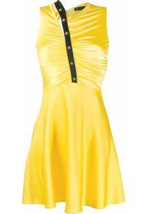 Versace Vestido Com Franzido Frontal - Amarelo