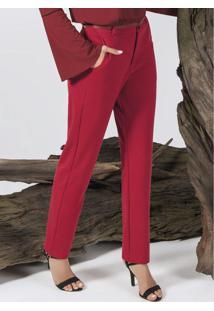 Calça Estilo Alfaiataria Com Bolso Vermelho