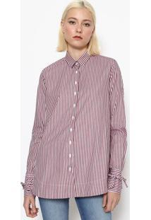 Camisa Listrada Com Botãµes - Vinho & Brancacalvin Klein