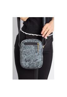 Bolsa Shoulder Bag De Couro Pietra - Azul Mescla