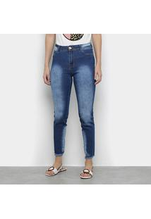 Calça Jeans Vale De West Skinny Média Estonada Barra Desfiada Feminina - Feminino-Azul