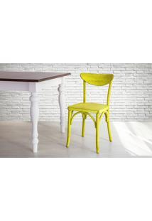 Cadeira De Madeira Country Amarela Torneada Com Encosto E Assento Anatômico Amélie - 44,5X45X81 Cm