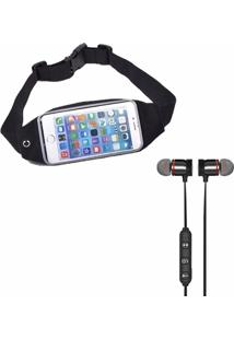 Kit Pochete Esportiva Porta Dollar Running E Fone De Ouvido Xt-6 Bluetooth - Unissex