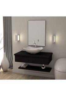 Conjunto Para Banheiro Gabinete 80Cm Cuba Abaulada L42 Prateleira E Espelheira 806W Metrópole Compace Preto Onix