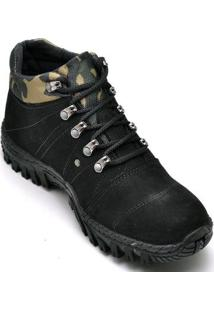 Bota Coturno Adventure Masculino Top Franca Shoes - Unissex-Preto