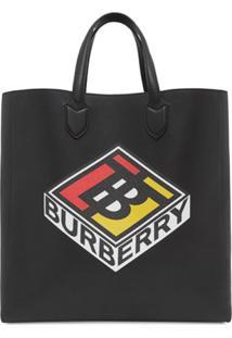 Burberry Bolsa Tote Grande Com Logo Gráfico - Preto