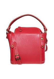 Bolsa Pequena De Couro Quadradinha - Ref.198 Vermelho