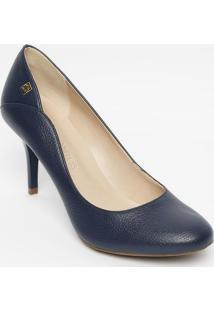 401b7ce4b ... Sapato Tradicional Em Couro Com Recorte- Azul Marinho