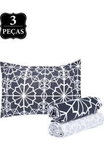 Jogo De Cama Solteiro Hedrons By Design Mosaico Black Percal 250 Fios 3Pçs Preto/Branco