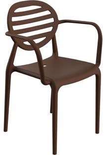 Cadeira Stripe Com Braço Chocolate
