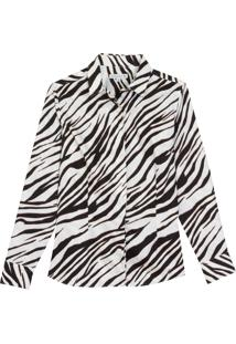 Camisa Dudalina Manga Longa Estampa Zebra Feminina (Estampado, 34)