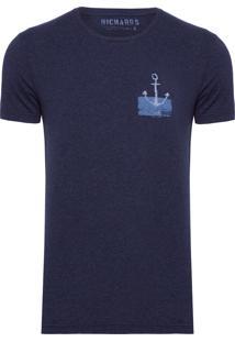 T-Shirt Masculina Mescla Âncora - Azul