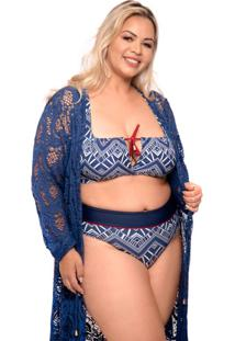 Quimono Renda Plus Size Azul Marinho