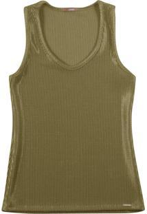 Blusa Sem Manga Em Tecido Canelado Verde Militar