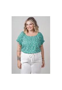 Blusa Estampada Almaria Plus Size New Umbi Decote Canoa Verde