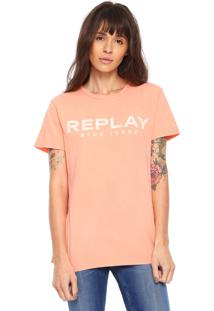 Camiseta Replay Blue Issue Coral