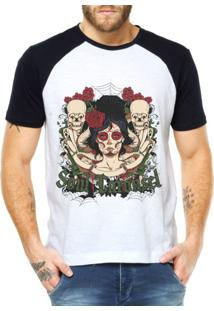 Camiseta Criativa Urbana Raglan Caveira Mexicana Branca