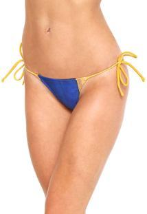 Calcinha Água De Coco Por Liana Thomaz String Listrado Azul/Amarelo