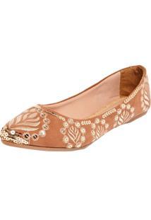 Sapatilha Dafiti Shoes Bordada Bege