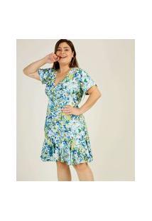 Vestido Plus Size Feminino Transpassado Floral