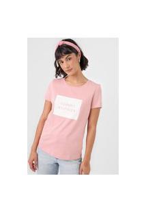 Camiseta Tommy Hilfiger Lettering Rosa