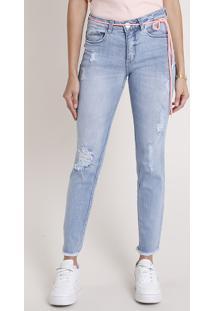Calça Jeans Feminina Skinny Cintura Média Destroyed Com Cadarço Neon Azul Médio