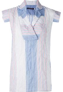 Harvey Faircloth Panelled Blouse With Bollar - Azul