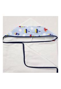 Toalha De Banho Revestida Com Capuz Transporte Azul