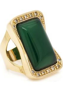 Anel Banhado A Ouro Com Jade E Zirconias - Feminino-Verde
