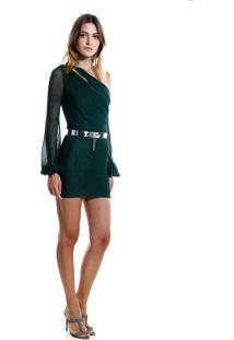 Vestido Rosa Chá Anne Curto Tricot Verde Feminino (Verde Medio, G)