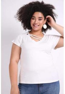 Blusa Kaue Plus Size Ilhós No Decote Feminina - Feminino-Off White