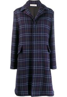 Marni Macro-Check Single Breasted Coat - Azul