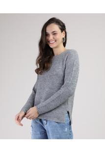 Suéter De Tricô Feminino Com Fenda Cinza Mescla