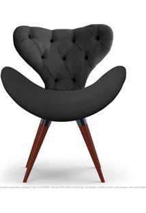 Poltrona Com Capitonê Decorativa Cadeira Egg Cinza Com Base Fixa De Madeira