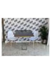 Conjunto De Mesa Dobrável Retrátil 1,40 Preto/Noronha Inox + 2 Cadeiras Eiffel - Branca