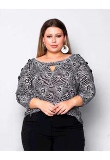 Blusa Plus Size Palank Estampa Constanza Feminina - Feminino-Preto