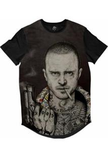 Camiseta Bsc Longline Pinkman Pistola Sublimada Masculina - Masculino-Cinza