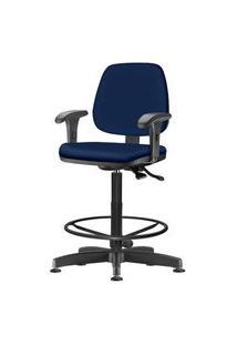 Cadeira Job Com Bracos Assento Crepe Azul Base Caixa Metalica Preta - 54534 Azul