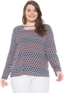Blusa Cativa Plus Geométrica Azul/Vinho
