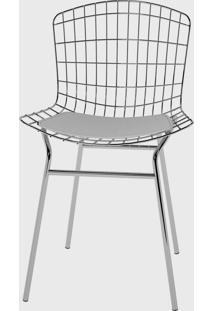 Cadeira Trama Vinil Branco/Cromado Pozza - Cinza - Dafiti