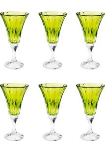 Conjunto Rojemac 6 Taças De Cristal Ecológico P/Água Wellington Lime Verde - Kanui