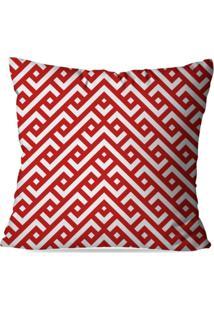 Capa De Almofada Avulsa Vermelho E Branco 45X45Cm