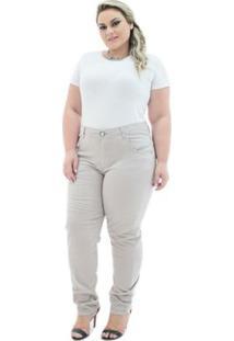 Calça Confidencial Extra Jeans Cigarrete Munich Plus Size Feminina - Feminino-Bege