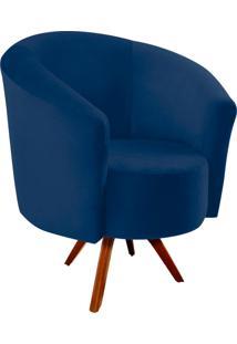 Poltrona Decorativa Angel Suede Azul Marinho Com Base Giratória Madeira - D'Rossi