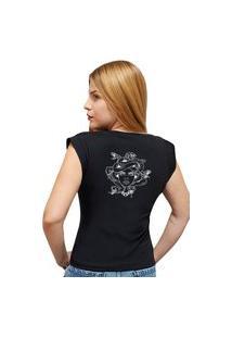 Camiseta Casual 100% Algodão Estampa Medusa Avalon Cf01 Preta